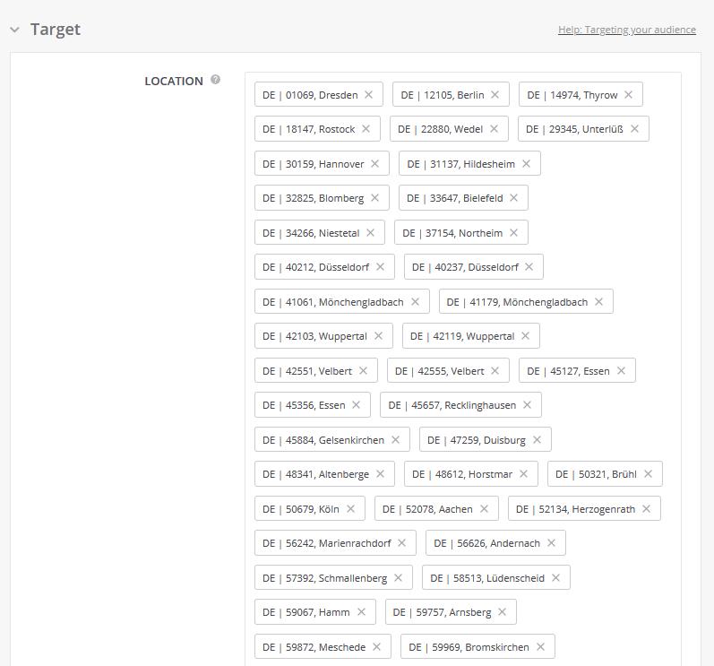 Geofencing-Targeting im Kampagnen-Dashboard von Outbrain