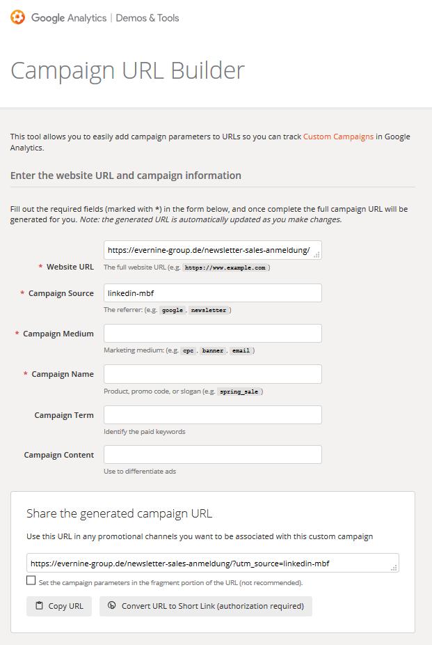 Google Campaign Builder